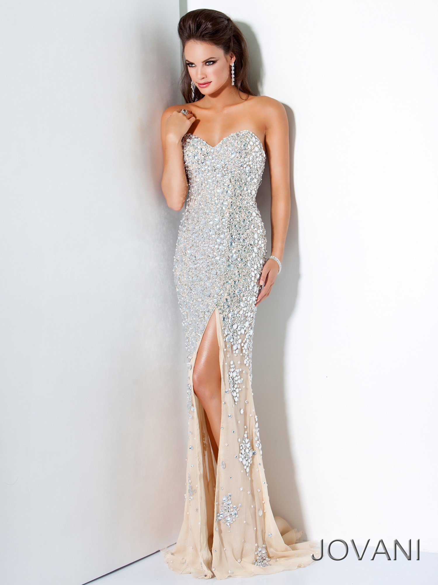 Jovani 4247 - Silver Nude Beaded Strapless Dress - RissyRoos.com