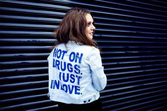jacket tove lo denim jacket love quote on it blue jacket