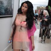 dress,nicki minaj dress,celebrity,beach,beach dress,nicki minaj,celebrity style,caftan,caftans,kaftan,kaftan dress,caftan dress,swimwear,summer dress,summer,summer outfits,bikini,blouse,cover up,beach caftan,peach,pink,natural,coral swimwear,coral