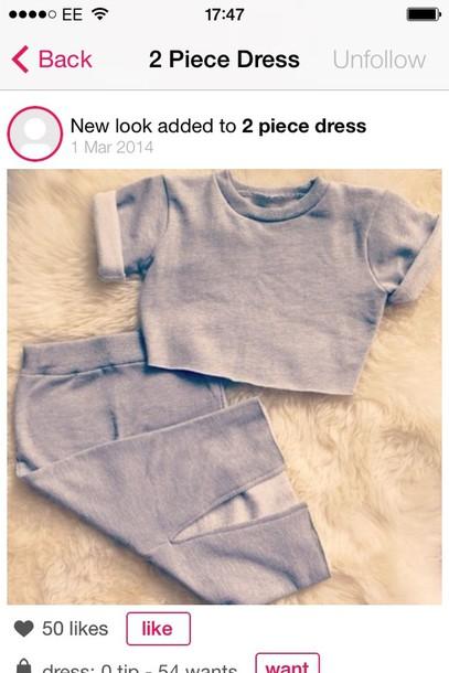 dress two-piece shirt skirt grey