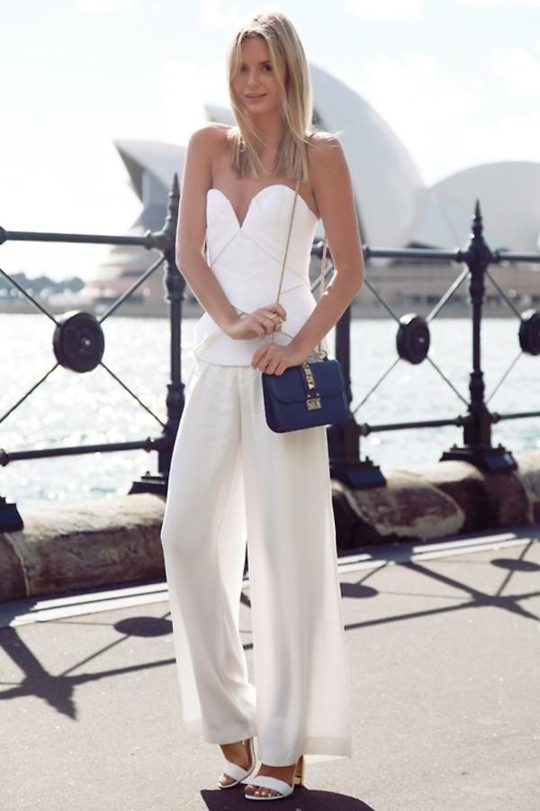 Pants: transparent, white trousers, wide-leg pants ...
