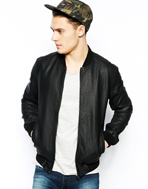 New Look | New Look Baseball Jacket in Faux Leather at ASOS