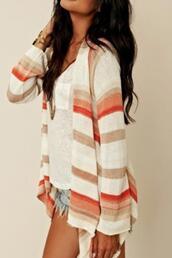 jacket,sweater,aztec,cardigan,stripes,girly,pretty,summer,how much it cost,clothes,open cardigan,strip,cardagen,shirt,orange,hippie,bohemian,boho,white. orange. beige