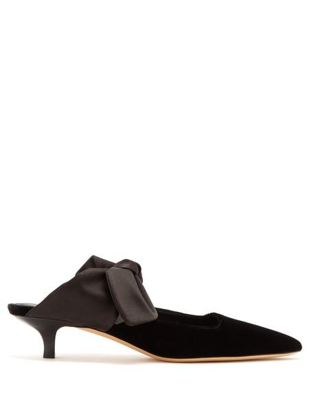 The Row mules velvet black shoes
