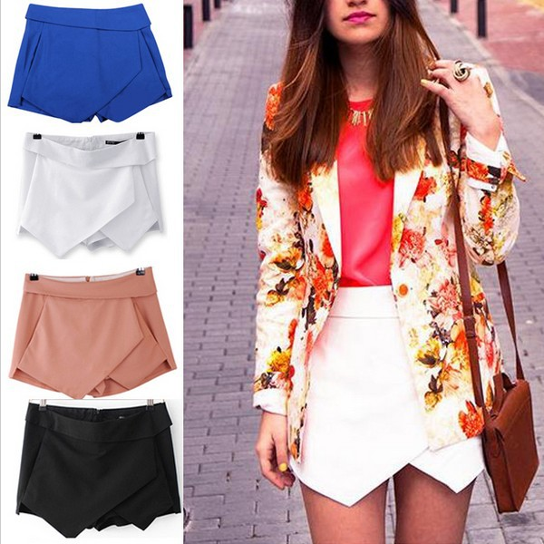Hot 3 Colors Womens Tiered Shorts Irregular Zipper Trousers Culottes Short Skirt S M L  Blue Black  White JOY051-in Shorts from Apparel & Accessories on Aliexpress.com