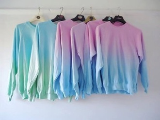 sweater ombre oversized pink blue