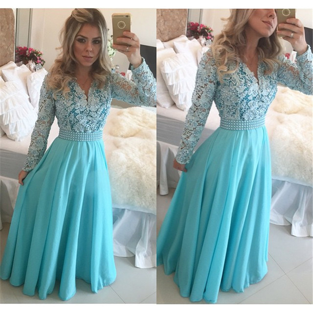 Aliexpress.com : Buy Full Sleeve Prom Dresses Lace Pearls V_neck ...