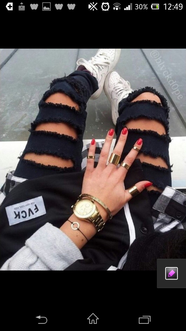 jeans black swag style pants holes jewels black ripped jeans ripped torn skinny jeans pants skinny pants ripped jeans ring bracelet & watch jeans girl girly scarf bag nice leggings cool boyfriend jeans trendy trendy prom dress ribbed sweatpants black jeans black pants