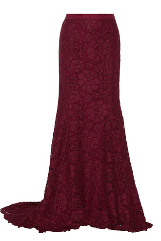 skirt maxi skirt maxi lace cotton burgundy