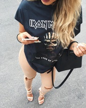 top,iron maiden,nude pants,skinny pants,navy t-shirt,pants