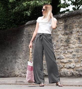shoes tumblr slide shoes pants wide-leg pants stripes striped pants t-shirt white t-shirt bag handbag sunglasses