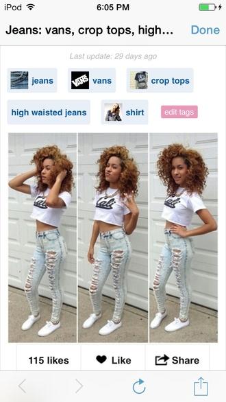 shirt california white crop tops jeans