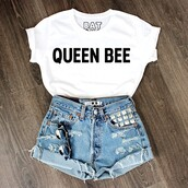shirt,t-shirt,top,quote on it,black and white,studded,white and says