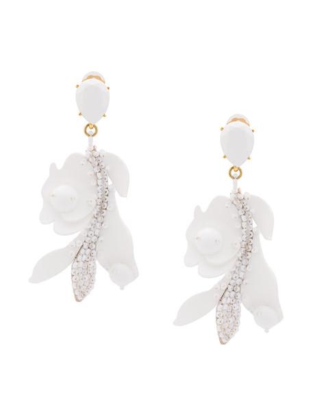 oscar de la renta women plastic earrings lace white jewels