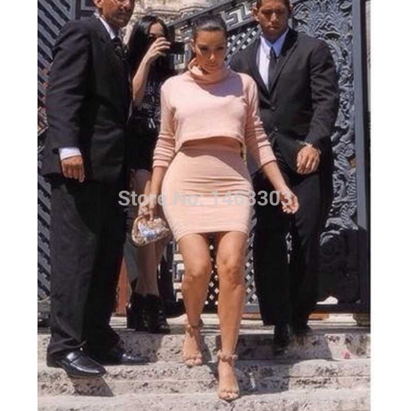 2015 New Kim Kardashian Dress Long Sleeve Kim Two Piece Women Two Piece Casual Women Dress