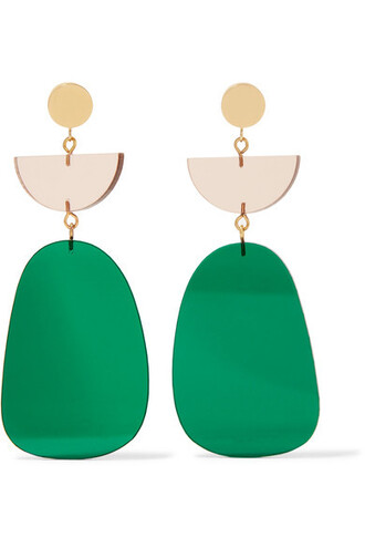 earrings gold green jewels