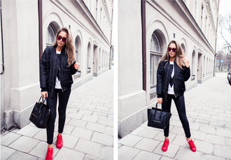 kenza blogger red shoes celine bag bomber jacket white t-shirt