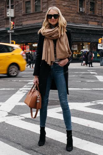 fashionjackson blogger jacket top shoes scarf bag sunglasses black coat handbag givenchy bag