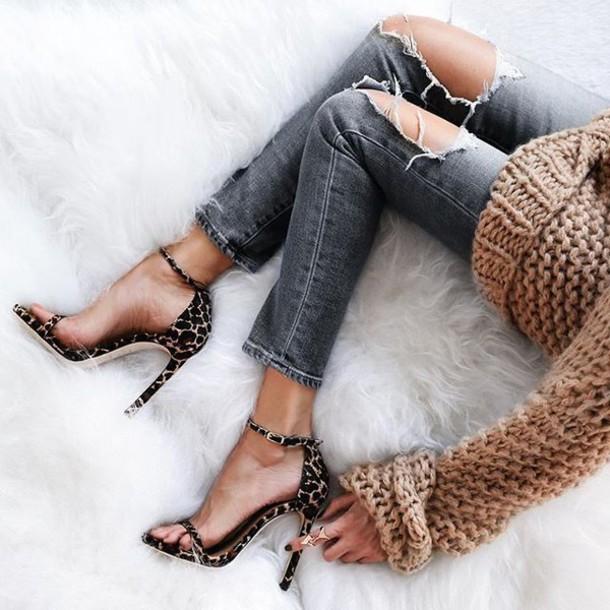 3ba8193a4e7 shoes tumblr sandals sandal heels high heel sandals animal print high heels  animal print jeans grey