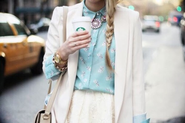 blouse blue shirt cute summer summer outfits tumblr h&m white collar pink by victorias secret pink jacket