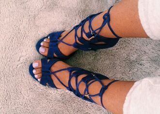 shoes heels sandals leather lace blue high heels blue shoes