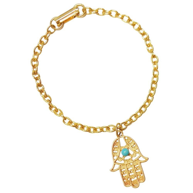 Amazon.com: Mystical! Filigree Hamsa Bracelet with Turquoise Epoxy