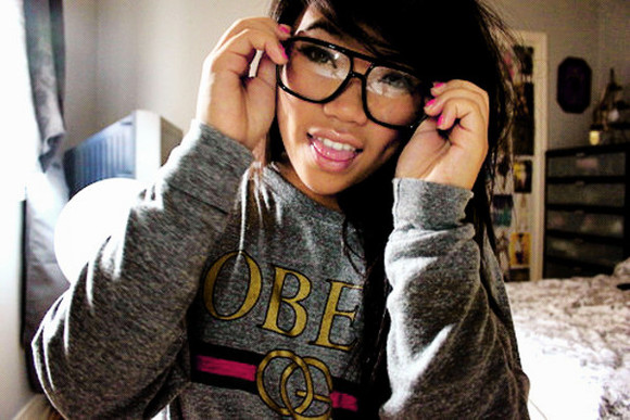 jacket grey jacket cute pink nailpolsih obey clothing obey glasses