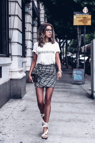 vivaluxury - fashion blog by annabelle fleur: nyfw mini moment blogger skirt shoes t-shirt bag mini skirt white t-shirt summer outfits sandals high heel sandals glasses tumblr ruffle tartan plaid