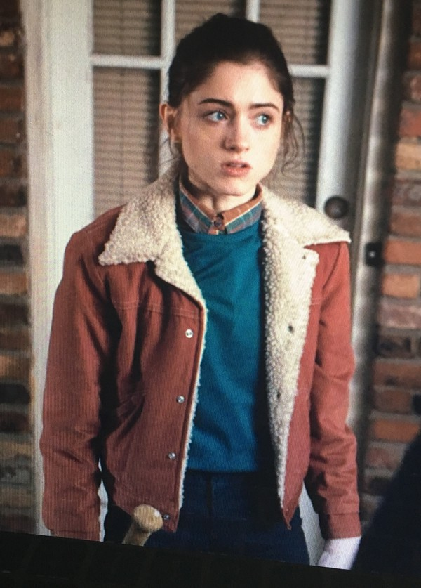 Jacket: red, red denim jacket, tv show, stranger things, fur ...