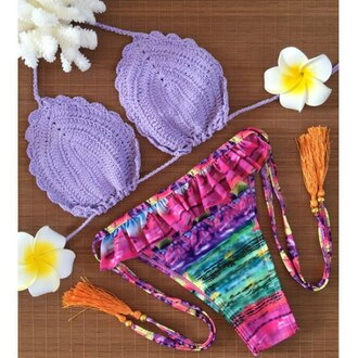 swimwear bikini summer beach crochet lilac colorful trendy girly hot cute rose wholesale-jan