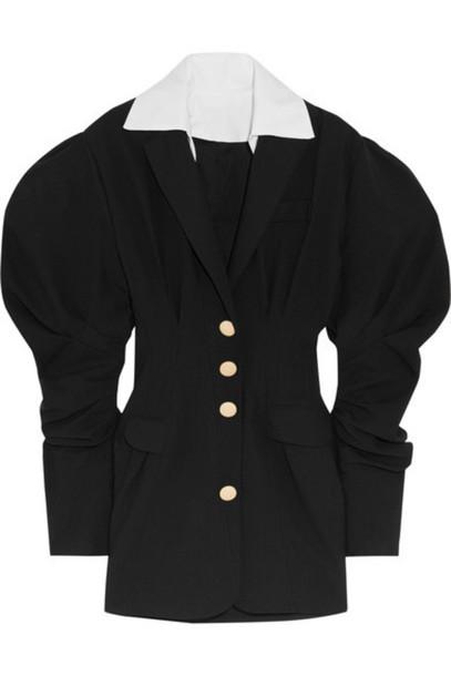 Jacquemus - Cotton-trimmed Wool-twill Mini Dress - Black