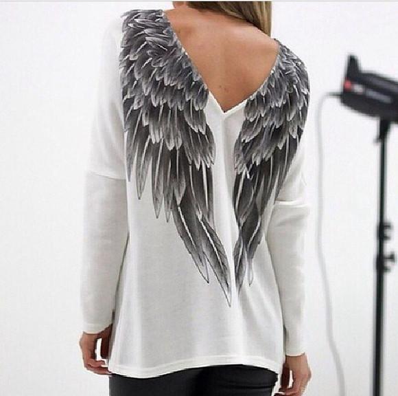 grey shirt blouse angel wings angel wings shirt white shirt backless shirt long sleeved shirt angel shirt wings