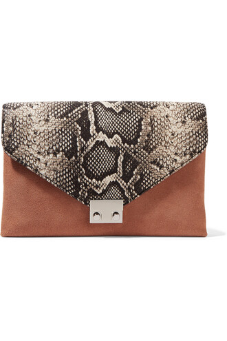 python clutch leather suede snake tan print snake print bag