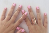 jewels,gold ring,gold midi rings,thin knuckle rings,knuckle ring,gold,ring,jewelry,gold jewelry,grunge jewelry,soft grunge,nail accessories,pink nails