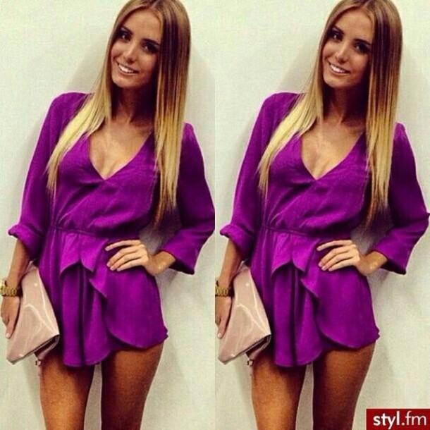 dress purple romper purple dress purple shoes