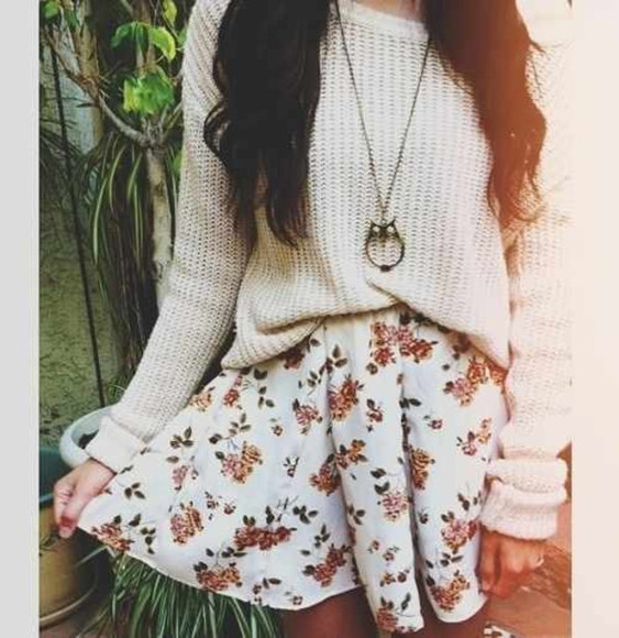 skirt jewels floral skirt sweater shirt floral floral skirt owl necklace floral floral skirt knit sweater white vintage cute floral wihte owl chain skater skirt