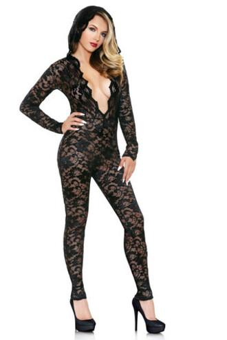 jumpsuit fantasy lingerie lace hooded lingerie bikiniluxe