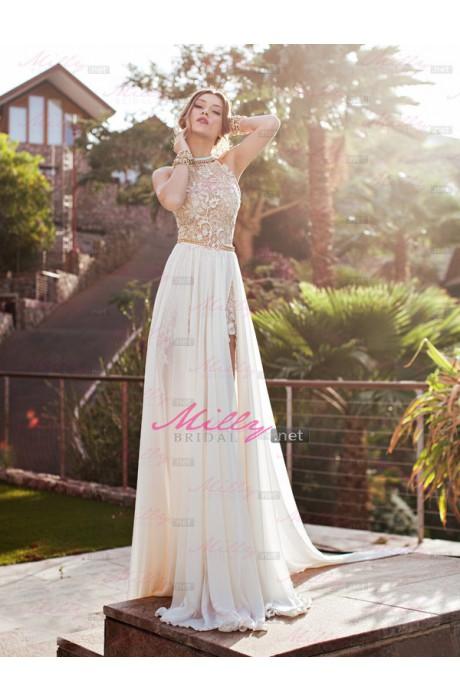 Line high neck chiffon wedding dress at millybridal.net