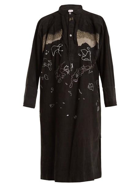 KILOMETRE PARIS shirtdress embroidered black dress