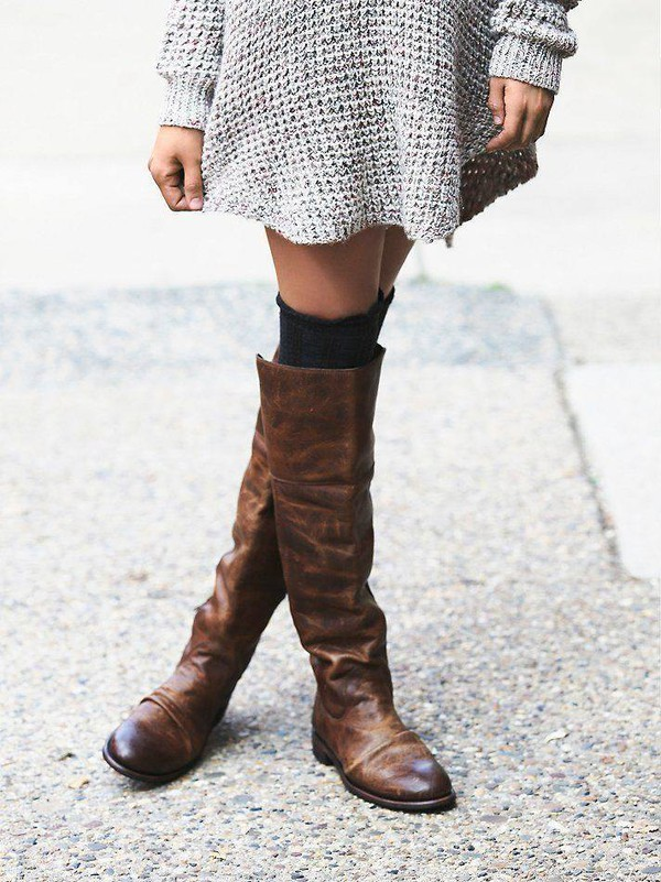 62511ec47f7 Brown Studs Flat Knee Boots Vintage Shoes US Size 3-15