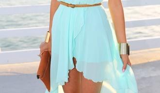 dress skirt blue belt asymmetrical stylish dresss cute dress nice sweetheart dresses blue dress beautiful bags