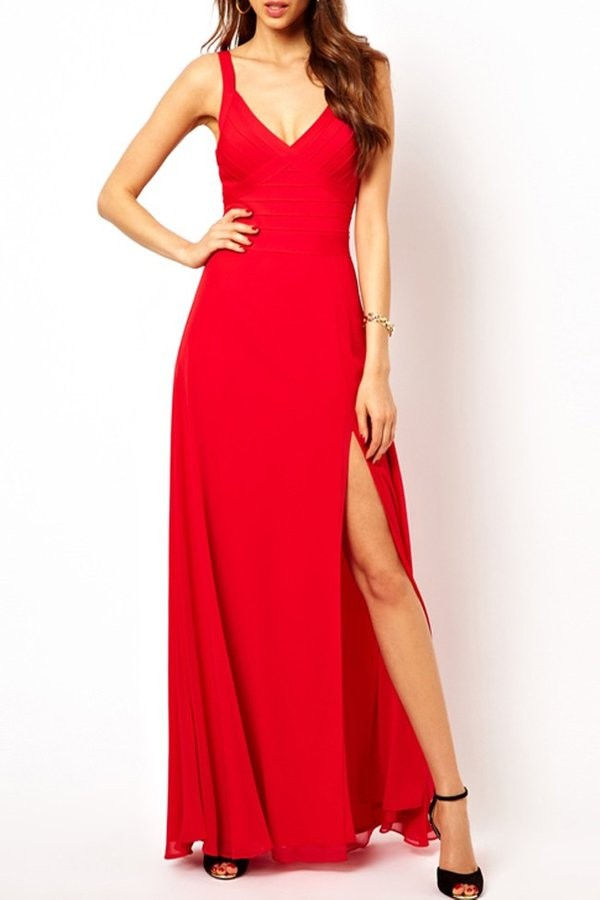 Tracey red side slit bandage gown
