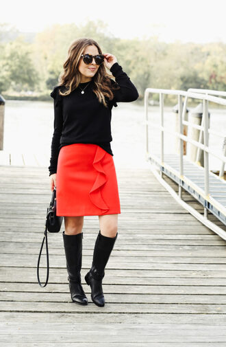 dress corilynn blogger skirt sweater shoes bag sunglasses jewels fall outfits black sweater red skirt mini skirt handbag boots knee high boots