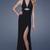 Black Empire Halter V Neck Backless High Slit Floor Length Sheath Celebrity Dresses With Beading
