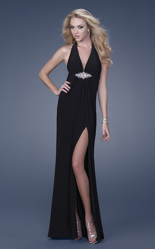 Black empire halter v neck backless high slit floor length sheath celebrity dresses with beading
