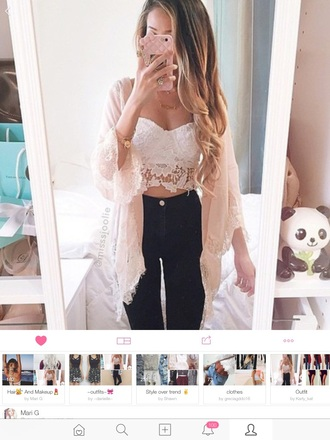 top bralette cute top cardigan