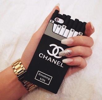 phone cover chanel phone vs case smoking kills black elegant cool beautiful