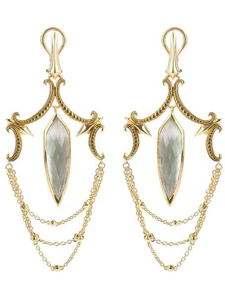Stephen Webster women earrings silver grey metallic jewels