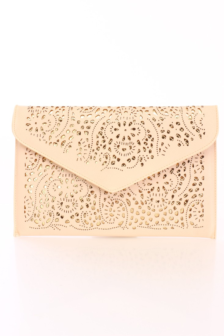 Beige Metallic Cut Out Faux Leather Clutch Handbag