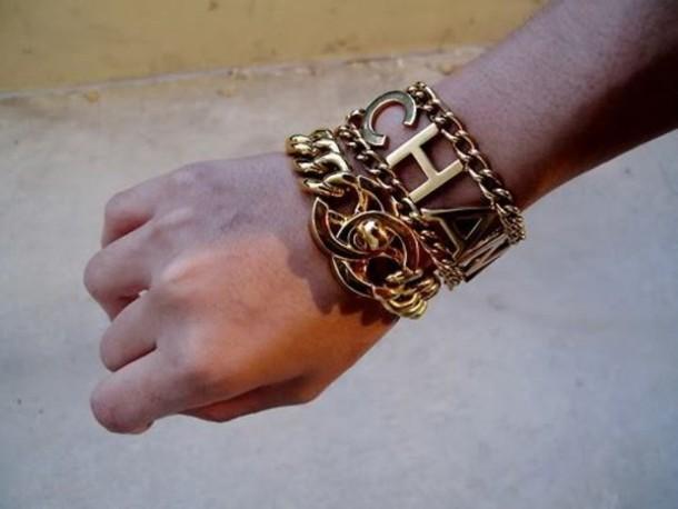 nail bracelets chanel gold set bracelets